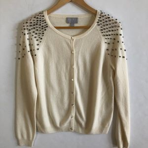 PURE Collection Cashmere Embellished Cardigan US 6